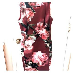 Beautiful Calvin Klein Floral Work Sheath Dress 8